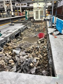 Platform 1 and 2 at Waterloo. Over Christmas, engineers broke through the platforms to create what will eventually become a new entrance to the underground