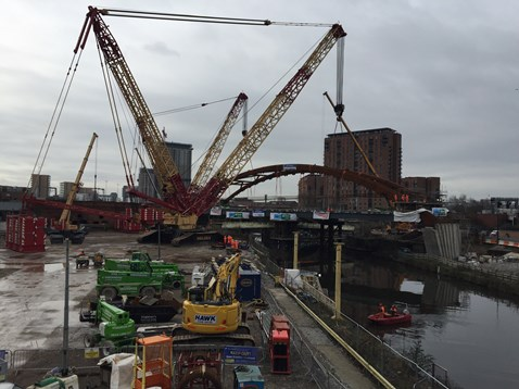 The biggest crawler crane in the UK lifting the network arch into place at Ordsall Chord
