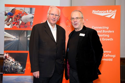 Pete Waterman (left) with Sir Peter Hendy, CBE, Chair of Network Rail (right)