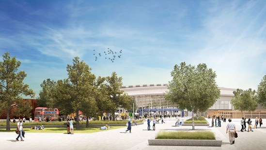 Boost for West London as Employment and Skills Hub is set up with HS2 funds: Old Oak Common Station Exterior February 2020