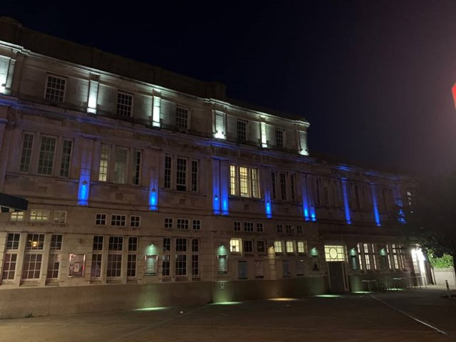 Swansea railway station lit up blue for NHS and all critical workers: Swansea Station 1