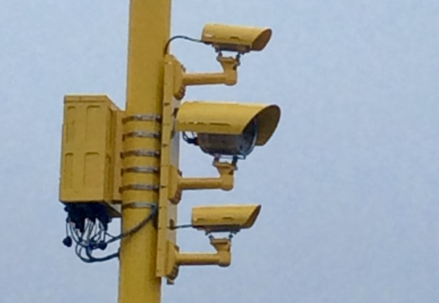 Close up of red light camera at Black Dyke level crossing