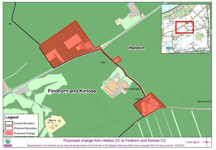 Community Council boundary change 2021: Image of the change of boundary between Heldon Community Council and Findhorn and Kinloss Community Council.