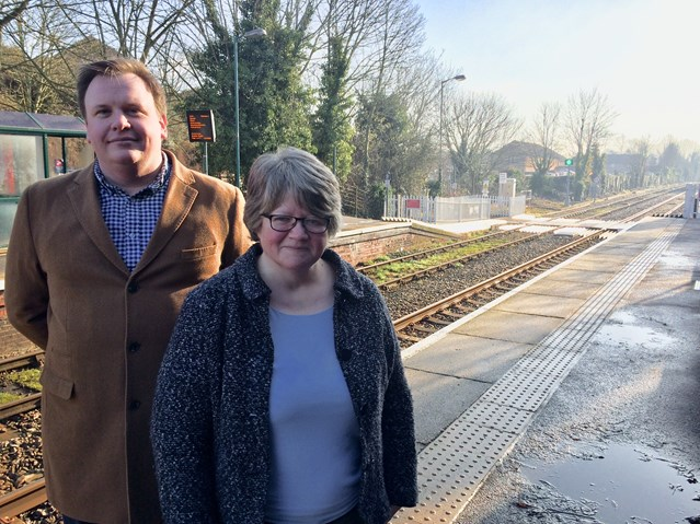 Local MP reiterates safety message after near miss at Halesworth level crossing: Dan Fisk and Dr Coffey at Halesworth