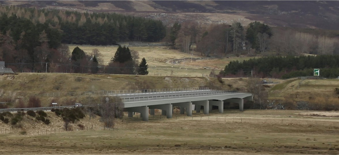 A9 dualling Crubenmore-Kincraig Spey Bridge Option 1
