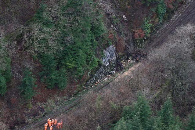 Further investigation reveals the full extent of damage to the Conwy Valley line caused by Storm Doris: Aerial View of Blaenau Ffestiniog