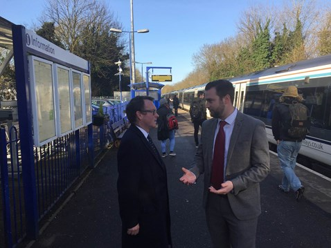 Network Rail senior sponor Simon Clifford talks with MP for Warwick Chris White