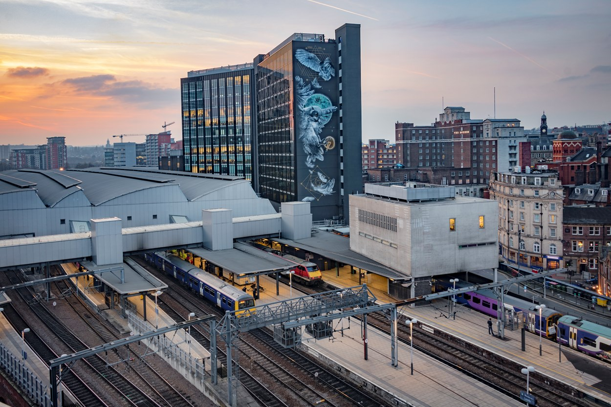 Leeds Station and Athena Rising Mural - Carl Milner Photography for VisitLeeds