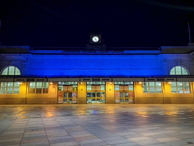 Cardiff Central lighting up blue for NHS and all critical workers: Cardiff Central 2