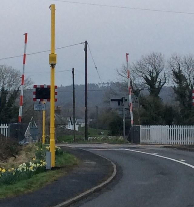 Red light camera at Black Dyke level crossing in Arnside Cumbria