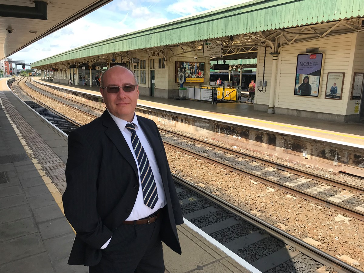 Dr Robert Gravelle at Cardiff Central station