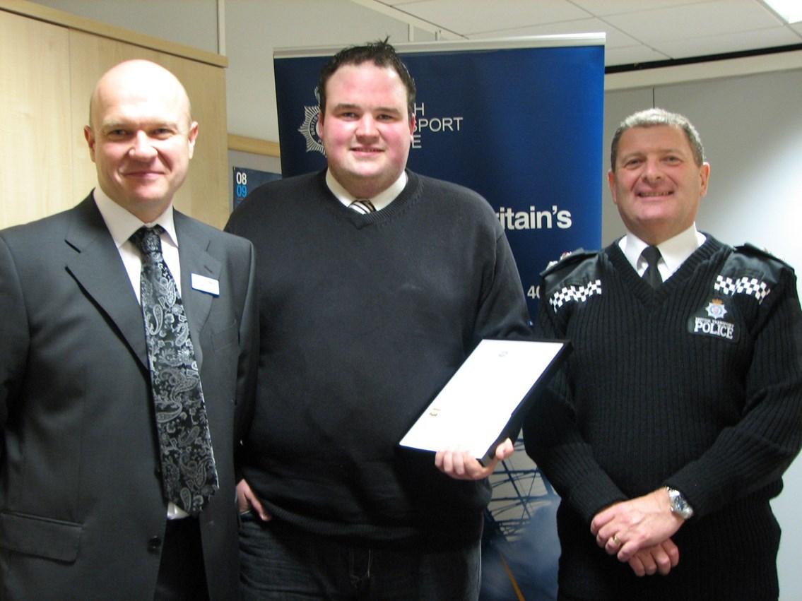 Cable theft presentation: L-R Warrick Dent, Ben Kidson, Chief Supt Terry Nicholson