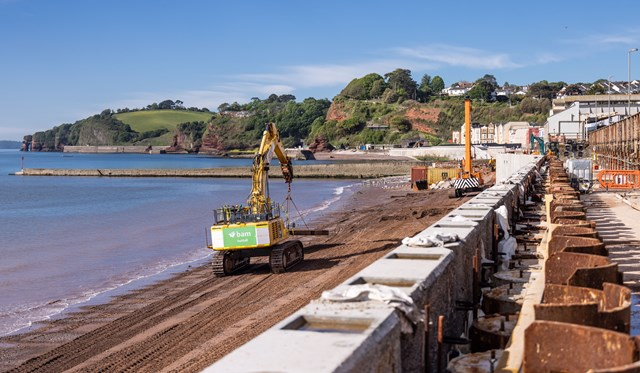 View of Dawlish beach from on top of the second section of new sea wall