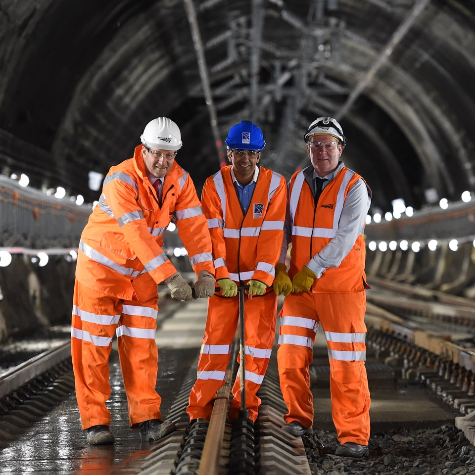 Queen Street tunnel works completed early for passengers: Queen Street August 5 - ScotRail Alliance MD Phil Verster, left, Transport Minister Humza Yousaf, and EGIP Programme Dr Rodger Querns.