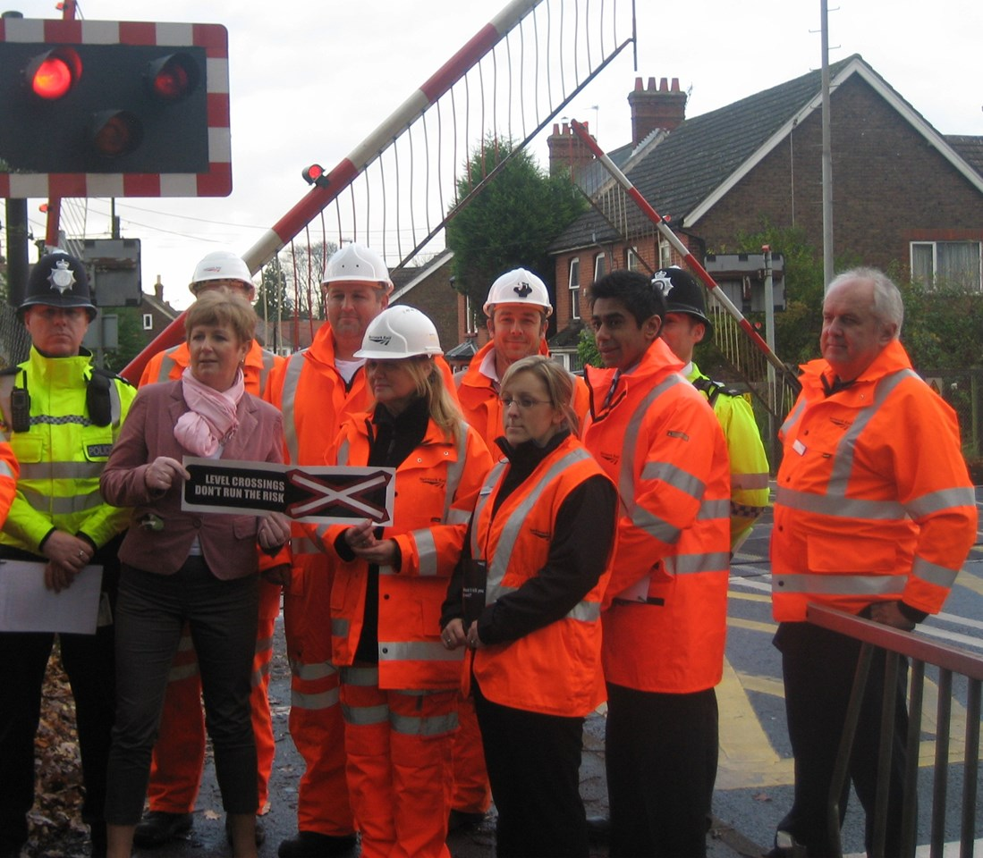 NETWORK RAIL ASKS CRAWLEY 'WOULD IT KILL YOU TO WAIT?': Crawley MP Laura Moffatt with Network Rail level crossing safety awareness team