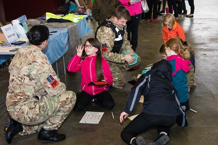 1,200 P6 pupils learn about STEM in the Workplace: RAF Police explain to learners how they use fingerprints in their day-to-day job