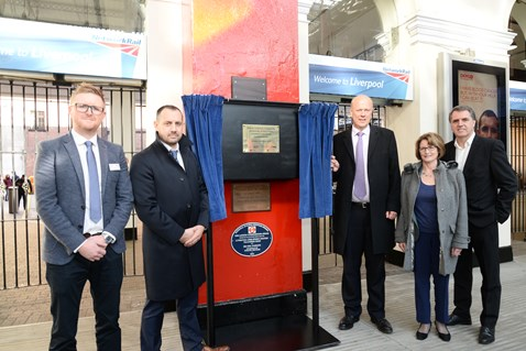 Transport Secretary Chris Grayling unveiling a plaque at Lime Street with (from left): Sean Hyland, Network Rail; Pat Cawley, Network Rail; Louise Ellman MP; Steve Rotherham, Metro Mayor of the Liverpool City Region