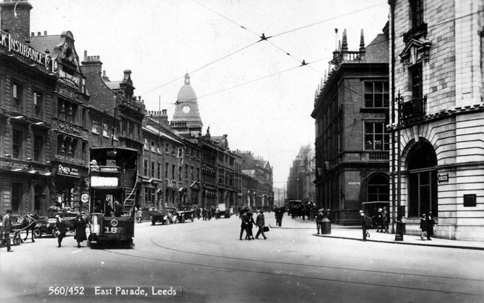 Fast x Slow Fashion online: Old image of East Parade in Leeds. Credit Leeds Museums and Galleries.
