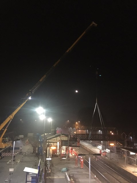 St Austell footbridge removed by crane