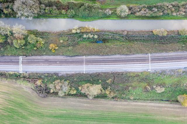 Bird's eye view of Hopsford Hall embankment before work in April 2020