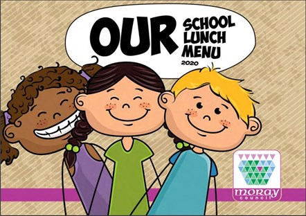 School lunch menu cover - three smiling cartoon children