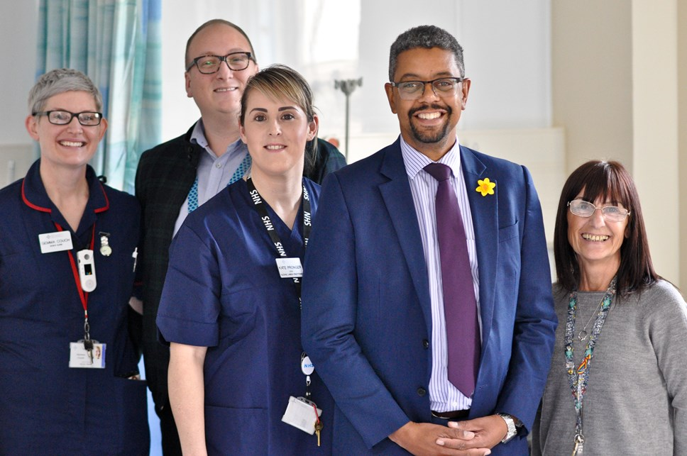 VG with alcohol care team in Newport's Royal Gwent Hospital March 2020