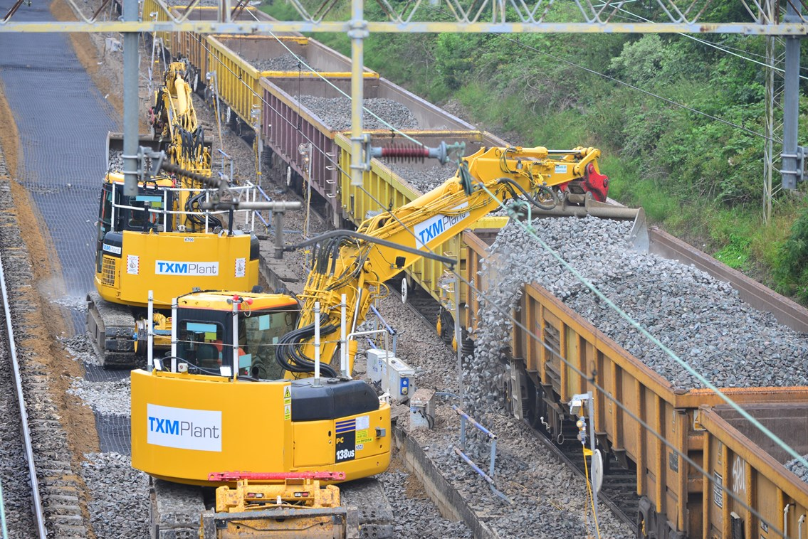 Ballast on wagons during Trent Valley line track upgrade August 2021