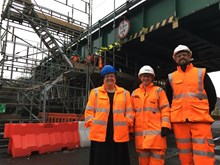 Jackie Baillie MSP at Buchanan Street bridge refurbishment in Dumbarton: Jackie Baillie MSP at Buchanan Street Dumbarton with Project Manager Suzanne McKay, and Jamie MacDonald, General Foreman of contractors AMCO