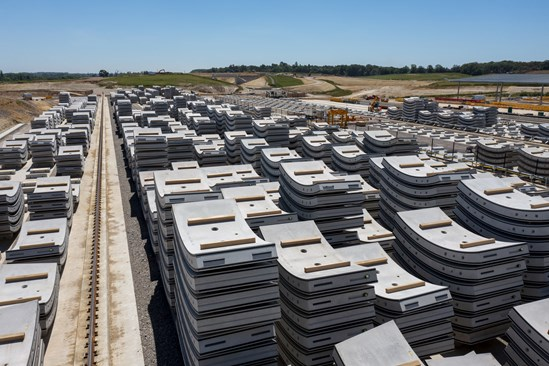 Ring sections outside the precast factory at the Chilterns Tunnel South Portal: Credit: HS2 Ltd