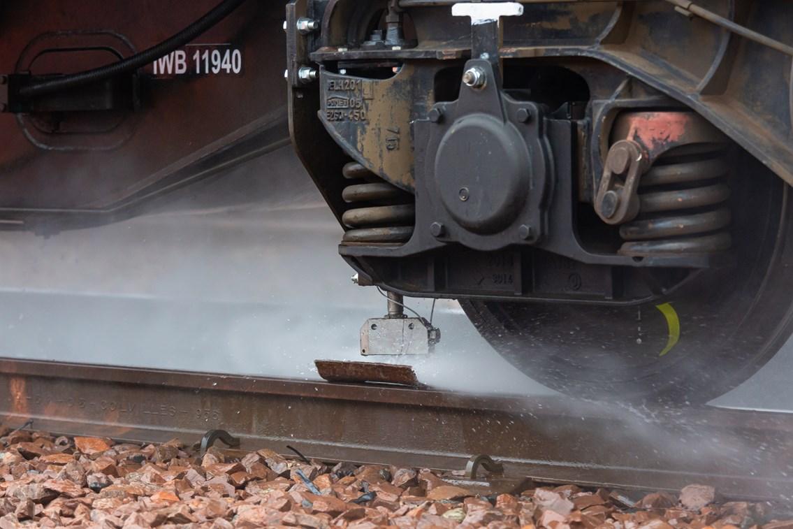 Autumn - Water Jetting in action - Rail Head Treatment Train