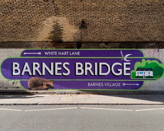 Colourful new mural brightens up route beneath historic Barnes Bridge in South West London: BarnesBridgeMural