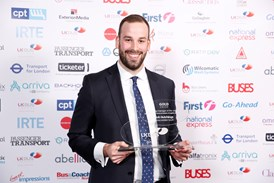 Rob Hutchings, Arriva London South, collects Gold at the 2018 UK Bus Awards