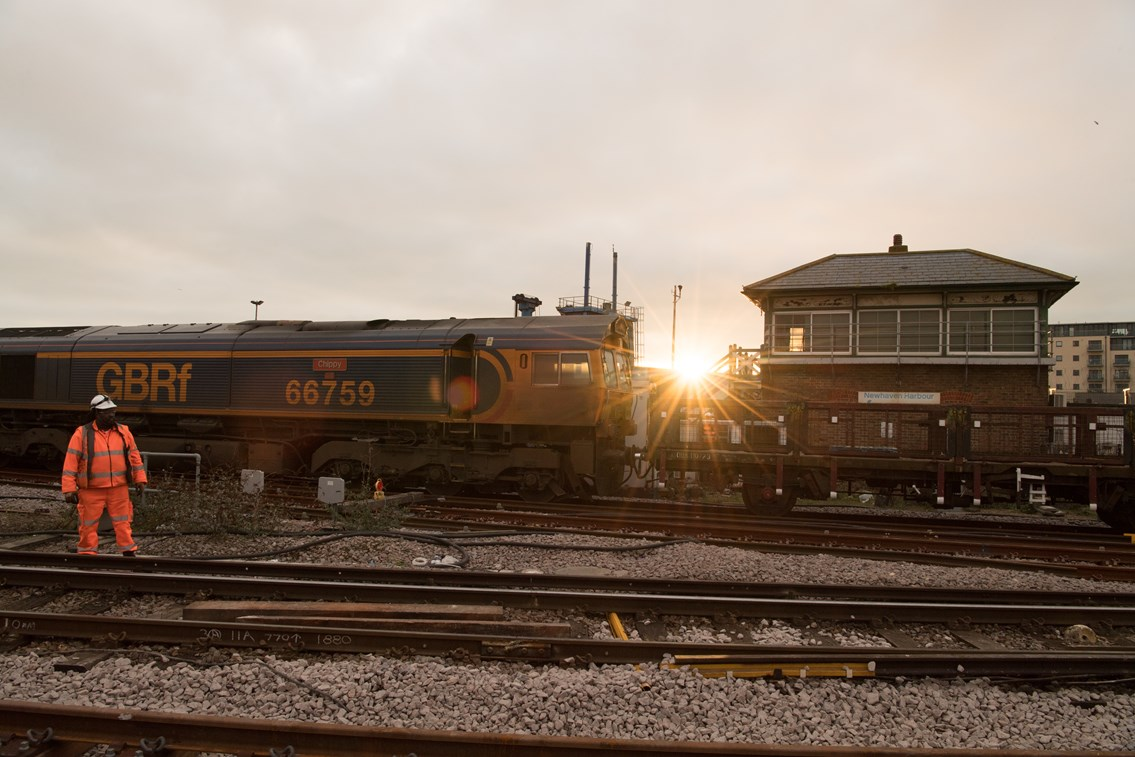 Passengers welcomed back on the Lewes to Seaford line in East Sussex after four days of successful Network Rail improvement work: Sunrise Newhaven Harbour