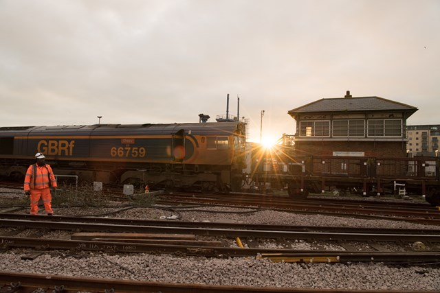 Sunrise Newhaven Harbour: Signalling and trackwork continues as the sun rises over Newhaven Harbour and its former signal box. Picture: Graham Price