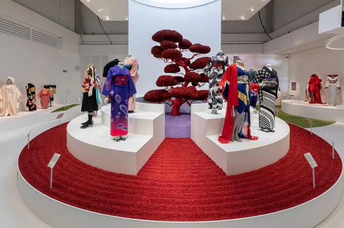 Visit London's top post-lockdown exhibition picks for fashion, history, art and  culture: Installation shot of Kimono Kyoto to Catwalk. Image courtesy of the Victoria and Albert Museum.