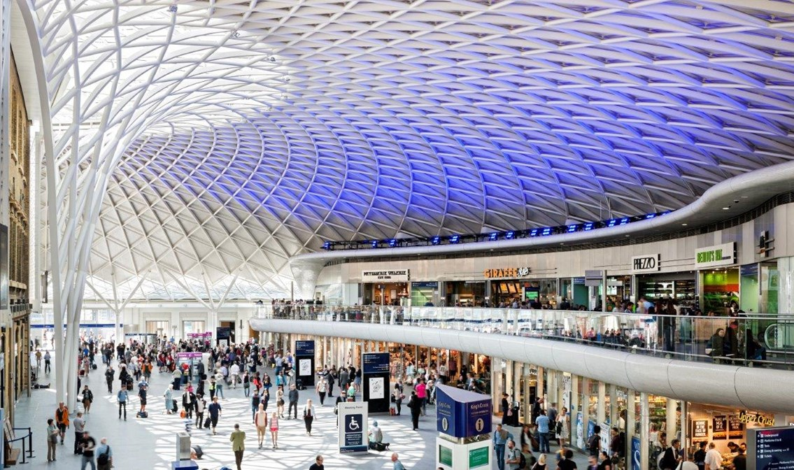 King's Cross station transformation receives two honours at London Planning Awards: King's Cross station shops and balcony