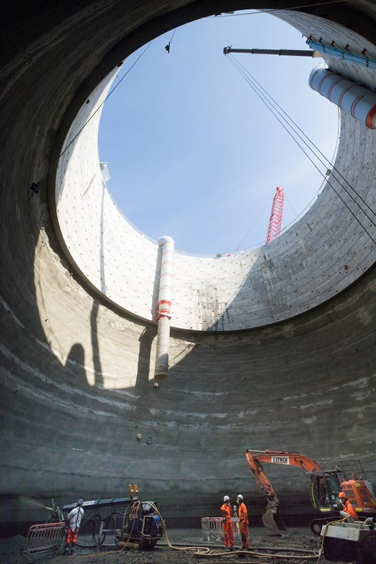 View from the bottom of the Victoria Road Ancillary Shaft in Old Oak Common, August 2021 HS2-VL-28119