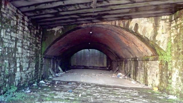 Redundant railway arch which will be filled in at George Street in Blackburn