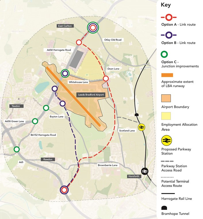 Final week of public engagement on Leeds Bradford Airport and north west Leeds connectivity improvement plans begins : overviewoptionsandparkwaymap-557307.jpg