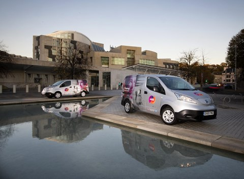 Mitie's electric van outside Holyrood