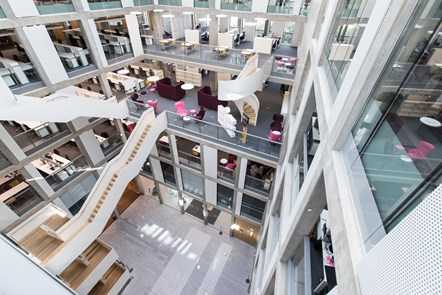 Scottish Enterprise welcomes opening of The Bayes Centre for data Science and Technology: Bayes Centre atrium from level five credit Mark K Jackson.jpeg