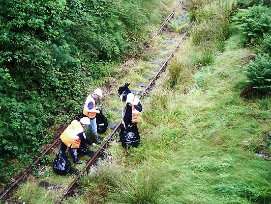 Blaenau Ffestiniog Clean Up: Network Rail maintenance staff clean up disused railway track