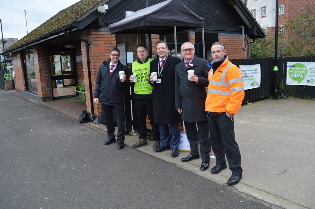 Life-saving railway coffee cart at Tile Hill: Martin Frobisher, London Northwestern MD; Matthew Chatterton, barista; Mark Killick, LNW chief operating officer; Neil Bamford, London Midland director; Richard Godwin, Network Rail suicide prevention lead