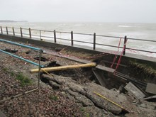 Damage caused by cracks on the sea wall at Dover, Kent