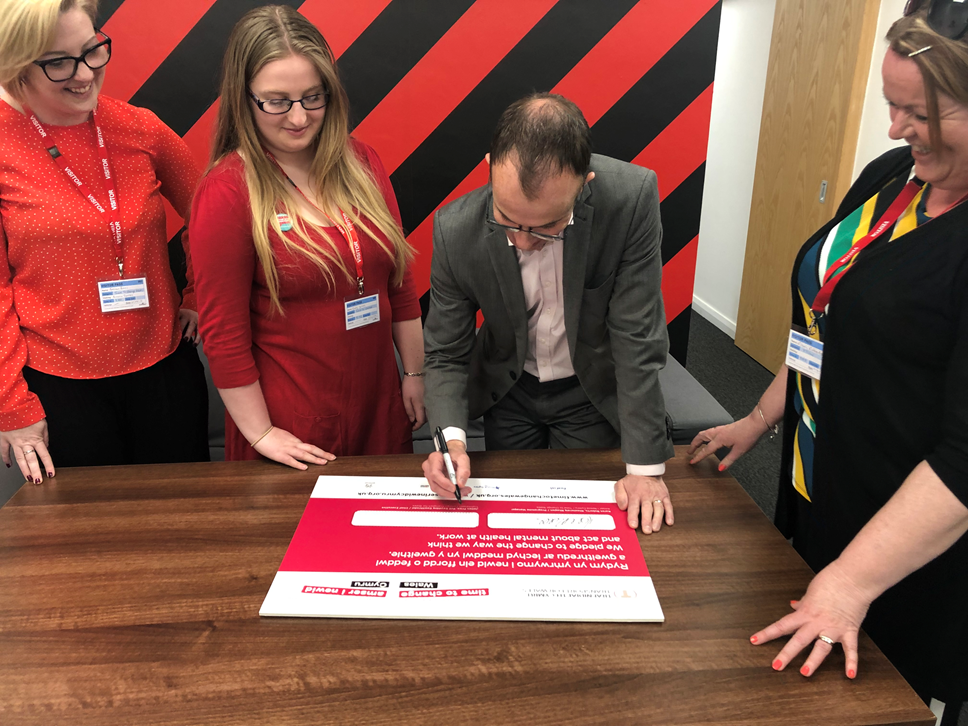 Tackling Mental Health at Transport for Wales: Time to Change signing