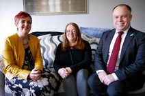 Cabinet Secretary for Communities, Social Security & Equalities, Angela Constance, meets with Donnah Anderson and Ross Armstrong, Contract Director at Warmworks Scotland.