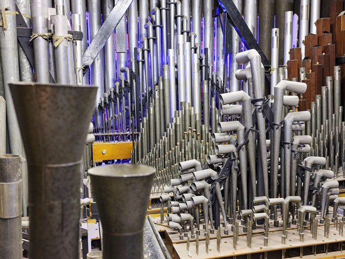 Interior of the Leeds Town Hall organ: The interior of the Leeds Town Hall organ, which is set to undergo a major refurbishment. Credit Justin Slee