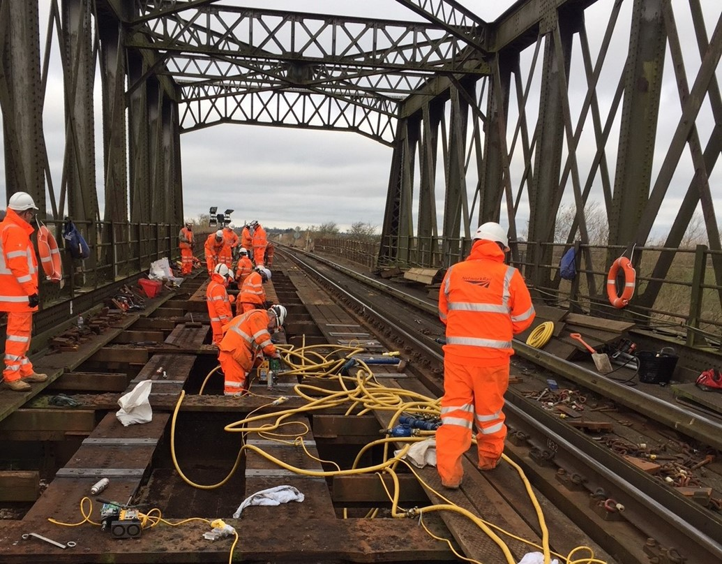 Fewer delays to train services between Cambridge and Peterborough following completion of bridge repairs in Manea: Manea bridge Cambridgeshire structural renewal