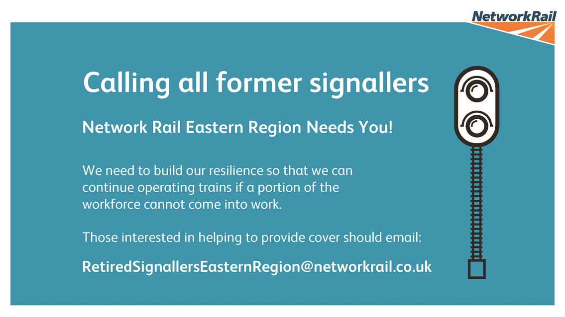 Network Rail appeals for former signallers in the East Midlands to keep vital train services moving: Network Rail appeals for former signallers to keep vital train services moving