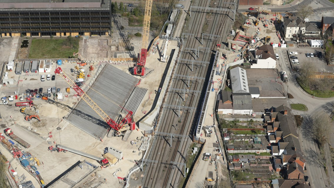 Stage set for May bank holiday heavy lifting over West Coast main line: Overhead shot showing precast concrete beams in position ahead of West Coast main line closure at Bletchley - Credit Network Rail Air Operations